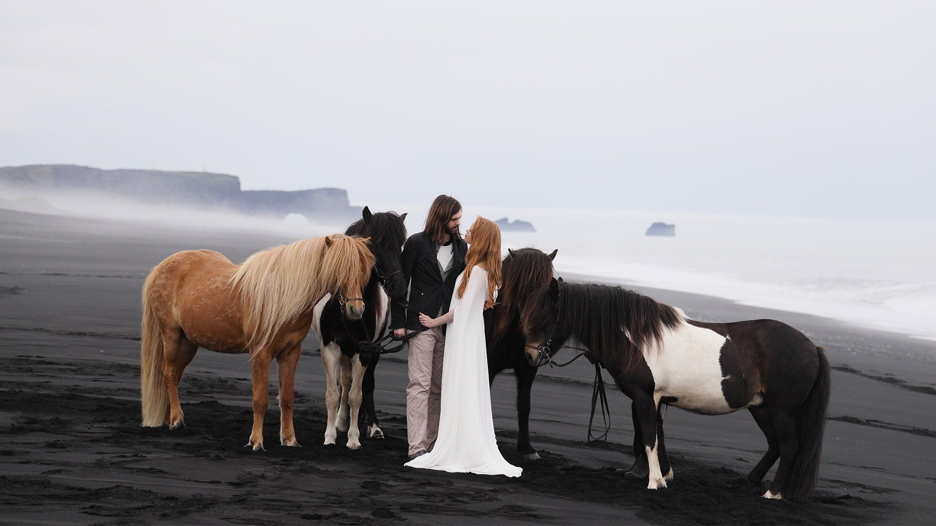 A couple eloping in Iceland on a beach with horses shot on the Canon EOS R and RF 24-105mm F4L IS USM